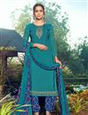 image of Festive Wear Crepe Fabric Cyan Color Trendy Embroidered Patiala Dress