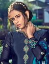 photo of Festive Wear Trendy Navy Blue Color Crepe Fabric Embroidered Patiala Dress