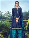 image of Festive Wear Trendy Navy Blue Color Crepe Fabric Embroidered Patiala Dress