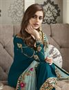 photo of Function Wear Georgette Fabric Designer Embroidered Straight Cut Suit In Teal Color
