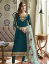 image of Function Wear Georgette Fabric Designer Embroidered Straight Cut Suit In Teal Color