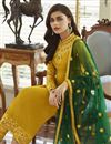 photo of Function Wear Georgette Fabric Designer Mustard Color Embroidered Straight Cut Dress