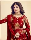 photo of Shamita Shetty Art Silk Designer Embroidered Long Anarkali Salwar Suit