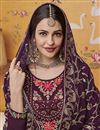 photo of Georgette Fabric Traditional Wear Designer Embroidered Purple Color Palazzo Dress