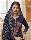 photo of Designer Navy Blue Color Traditional Wear Georgette Fabric Embroidered Palazzo Suit