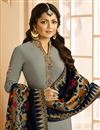 photo of Drashti Dhami Function Wear Grey Straight Cut Embroidered Dress With Heavy Dupatta