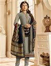 image of Drashti Dhami Function Wear Grey Straight Cut Embroidered Dress With Heavy Dupatta