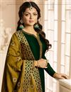photo of Drashti Dhami Georgette Straight Cut Dark Green Embellished Suit With Fancy Dupatta