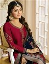 photo of Drashti Dhami Straight Cut Maroon Designer Suit In Georgette With Heavy Dupatta
