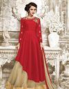 image of Designer Sharara Top Style Beige Color Net Fabric Fancy Lehenga Choli