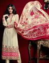 image of Long Length Cream Color Designer Salwar Kameez in Georgette Fabric