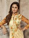 photo of Krystle Dsouza Designer Party Wear Cream Color Cotton Embroidered Straight Salwar Suit