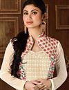 photo of Gorgeous Mouni Roy Beige Color Party Wear Georgette Salwar Kameez