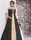 image of Taffeta Silk Fancy Party Wear Readymade Anarkali Suit In Black