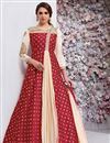 image of Embroidered Taffeta Silk Maroon Fancy Readymade Anarkali Dress