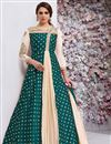 image of Embellished Long Readymade Anarkali Suit In Taffeta Silk Teal Color