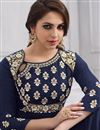 photo of Taffeta Silk Designer Readymade Anarkali Salwar Kameez In Navy Blue With Embroidery