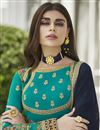 photo of Eid Special Fancy Georgette Party Style Embroidered Cyan Anarkali Suit
