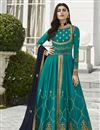 image of Eid Special Fancy Georgette Party Style Embroidered Cyan Anarkali Suit