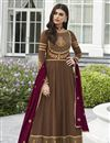 image of Eid Special Fancy Georgette Party Style Brown Embroidered Anarkali Suit