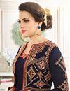 photo of Long Length Navy Blue Color Anarkali Salwar Kameez In Georgette Fabric