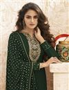 photo of Party Wear Georgette Fabric Dark Green Color Embroidered Palazzo Suit