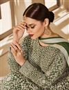 photo of Net Fabric Wedding Wear Long Anarkali Salwar Kameez In Green Color With Heavy Embroidery Work