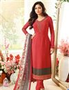 image of Drashti Dhami Party Wear Pink Color Crepe Fabric Straight Cut Embellished Dress Material