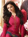 photo of Drashti Dhami Straight Cut Party Wear Pink Color Crepe Fabric Embellished Salwar Suit