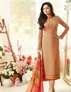 image of Drashti Dhami Beige Color Crepe Fabric Straight Cut Party Wear Embroidered Salwar Kameez