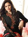 photo of Drashti Dhami Party Wear Black Color Crepe Fabric Straight Cut Embellished Dress Material