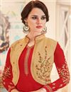 photo of Ready To Ship Fancy Straight Cut Georgette Fabric Suit With Koti In Red Color