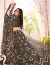image of Wedding Wear Mehendi Green Color Fancy Work Lehenga Choli In Net Fabric