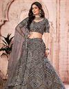 image of Dark Beige Color Fancy Work Wedding Wear Lehenga Choli In Net Fabric