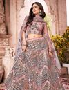 image of Wedding Wear Net Fabric Fancy Work Lehenga Choli In Pink Color
