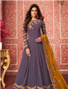 image of Dark Lavender Party Wear Anarkali Salwar Suit In Georgette Fabric With Embroidery Work