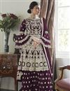 image of Wine Color Festive Wear Embroidered Net Fabric Sharara Suit