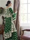 photo of Green Color Function Wear Embroidered Net Fabric Sharara Suit