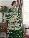image of Green Color Function Wear Embroidered Net Fabric Sharara Suit