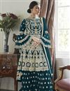 image of Net Fabric Party Wear Teal Color Embroidered Sharara Suit
