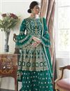 image of Trendy Function Wear Net Fabric Teal Color Embroidered Sharara Suit