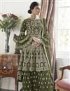 image of Trendy Mehendi Green Color Function Wear Embroidered Net Fabric Sharara Suit