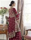 photo of Maroon Color Function Wear Trendy Embroidered Net Fabric Sharara Dress