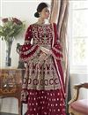 image of Maroon Color Function Wear Trendy Embroidered Net Fabric Sharara Dress