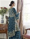 photo of Trendy Net Fabric Function Wear Navy Blue Color Embroidered Sharara Suit