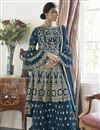 image of Trendy Net Fabric Function Wear Navy Blue Color Embroidered Sharara Suit