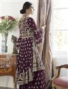photo of Wine Color Net Fabric Function Wear Trendy Embroidered Sharara Dress