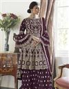 image of Wine Color Net Fabric Function Wear Trendy Embroidered Sharara Dress