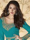 photo of Georgette Fabric Embroidery Work Festive Wear Trendy Anarkali Dress In Cyan Color