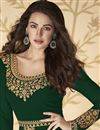 photo of Georgette Fabric Embroidery Work Wedding Wear Designer Anarkali Dress In Dark Green Color